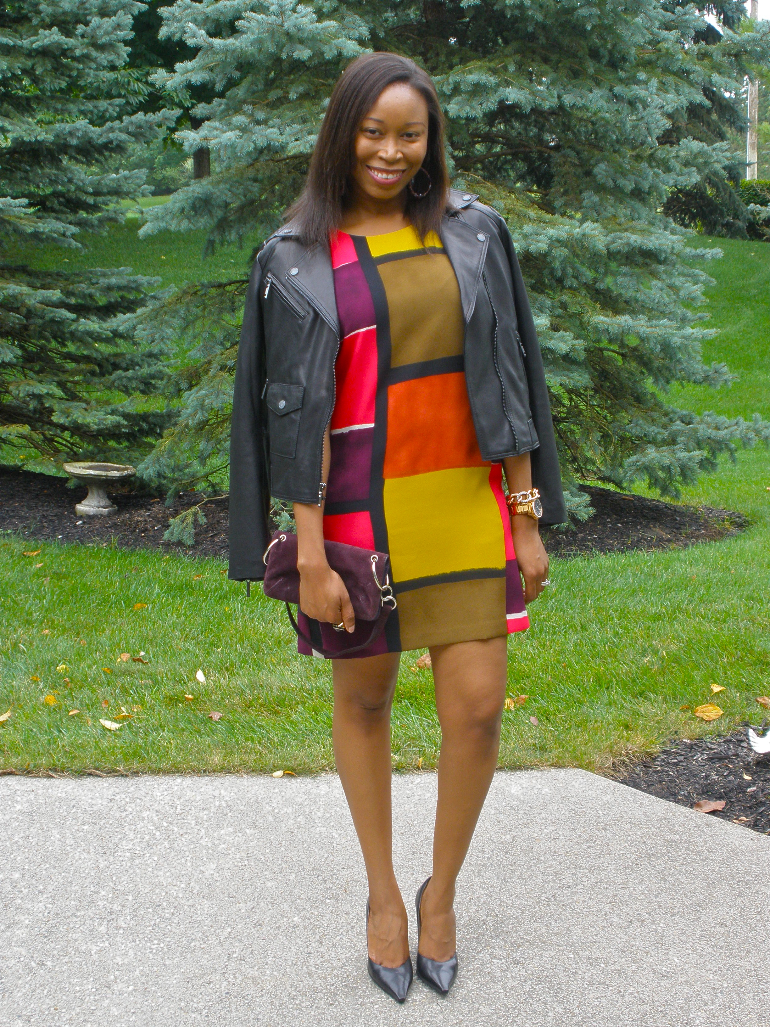 Ann taylor loft colorblock shift dress